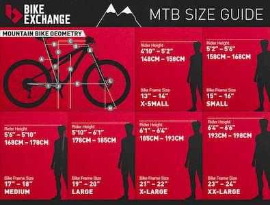 mountain bike sizing table